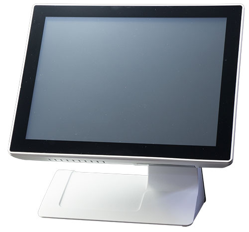 Helios POS terminal, fanless industrial computer with touch screen. It has an Intel Celeron J1900 processor. Sleek design with IP-65 front panel.