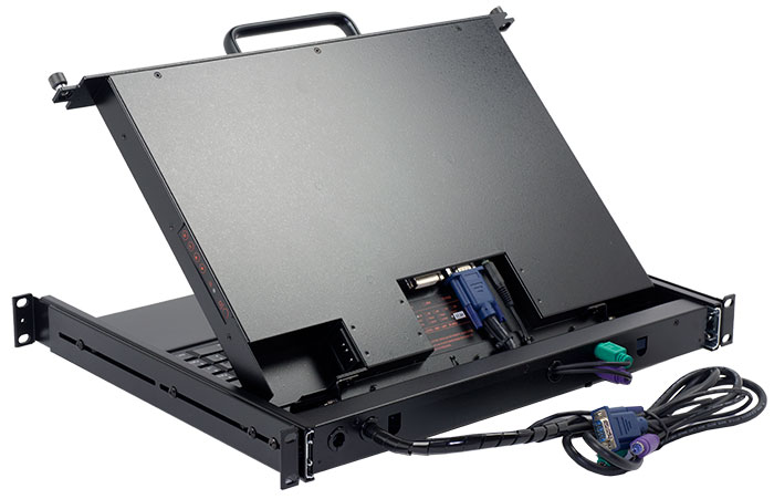 PS/2 interface LCD monitor keyboard drawer for shallow depth racks. KVM console with short frame kayboard drawer.